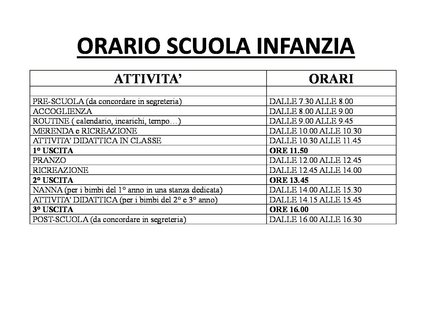 Calendario Del Tempo Scuola Infanzia.Orario Scuola Infanzia Scuola Vittorio Veneto